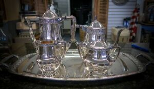 5 Piece Silver Plated Tea Set Including Butler Tray Coronation By Oneida Silver