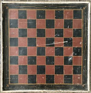 Late 19th Early 20th C Canadian Checker Gameboard Original Black