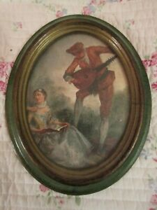 Vintage Oval Framed Victorian Couple Picture Man Plays Mandolin Action Italy