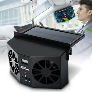 A Solar Sun Powered Car Fan Auto Front Rear Window Air Vent Exhaust Ventilation