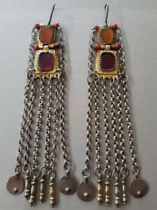 Superb Unique Antique Ottoman Silver Earrings Jewelry With Corneols Gilding