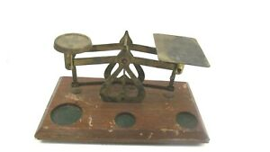 Vintage Balance Scale Counter Weights Wood Base 7 Made In England