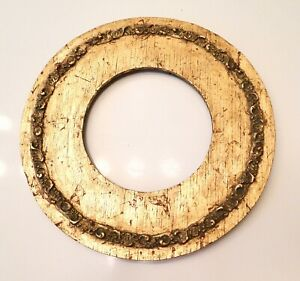 Antique Gold Wood Gesso Round Picture Frame 10 1 2 Wide W 5 3 8 Opening