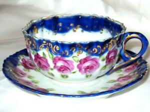 Nippon Cobalt Gold Pink Roses Hand Painted Tea Cup And Saucer