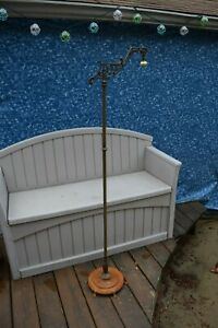 Rembrandt Floor Lamp Bridge Vintage Antique Art Deco Nouveau Brass Iron Signed
