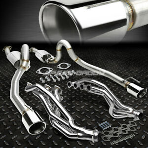 Long Tube Header Manifold 4 Rolled Tip Catback Exhaust For 96 04 Mustang Gt V8
