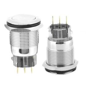 40pcs 19mm 3 pin Metal Momentary Push Button Switch Auto Reset Flat Head Durable