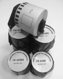 10 Rolls Of Dk 2205 Brother P touch Compatible Labels With 1 Reusable Cartridge