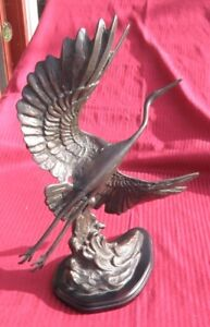 Vintage Bronze Sculpture Heron Bird Asian Figurine Korean Big Asian Metal Art