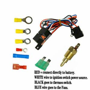 Hot Electric Radiator Engine Fan Thermostat Temperature Switch 30 Amp Relay Kit