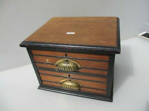 Small Vintage Wooden Chest Of Drawers Glass Knobs Workshop Tools Storage Antique