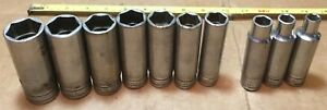 10 Pc Snap On 1 2 Dr Deep 6 Point Chrome Partial Socket Set Ts Series