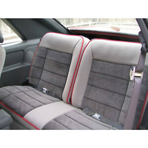 85 86 Mustang Gt Rear Bench Seat Upholstery Cover Gray Cloth W Red Piping Usa