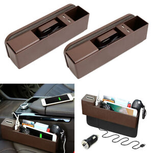 2x Car Side Pocket Organizer Seat Console Gap Catcher Foldable Cup Holder Brown