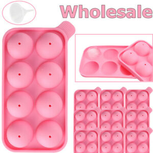 Lot Round Silicon Ice Cube Ball Maker Tray 8 Large Sphere Molds Bar Funnel Pink