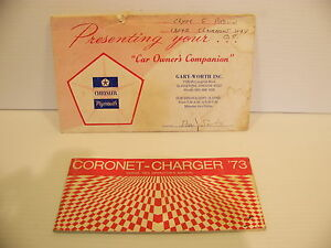 1973 Dodge Coronet Charger Operators Owners Manual Oem