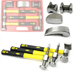 7pc Heavy Duty Drop Forged Hammer Dolly Tool Kit For Fender Auto Body Repair