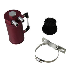 Red Aluminum Oil Reservoir Catch Can Tank Breather Filter Baffled Free Ship