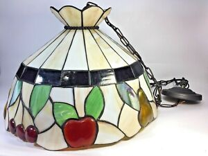 Tiffany Style Stained Glass Slag Hanging Lamp Shade Apple Cherry Fruit Motif