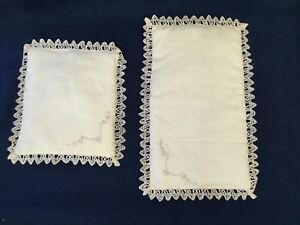 Vintage Antique Small Linen Pillows With Embroidery Ecru Evc