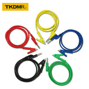 Test Lead Set Alligator Clips 5 Colors 4mm Banana Plug To Crocodile Wire Cable