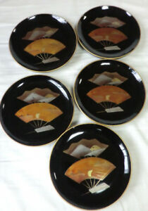 Stunning Plates Set Of 5 Japanese Lacquer Vintage Lovely Patina