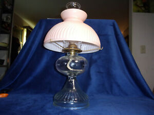 Antique Clear Glass Kerosene Oil Lamp With Pink Shade Total Of 19 Tall