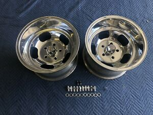 Vintage 15x10 Pair Polished Real Wes Mags Nice 5 On 4 3 4 Chevy Hotrod Nice