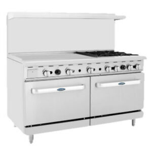 Atosa Ato 36g4b 60 Cookrite Gas Restaurant Range With 4 Burners And 36 Griddle