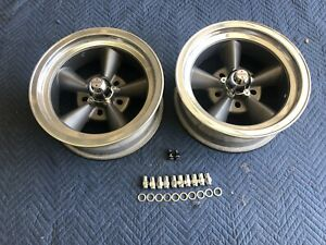 Vintage Pair15x6 Real American Torque Thrust Polished Lip Chevy 5 4 3 4