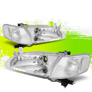 For 98 00 Toyota Corolla Pair Chrome Housing Clear Corner Headlight Lamps 99 00
