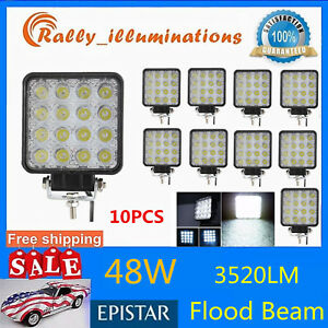 10x 48w Led Work Light Flood Driving Fog Lamp Square 4wd Off Road Boat Suv 4inch