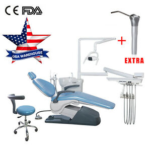 Dental Chair Unit Hard Leather Computer Control W Stool Chair Air Water Syringe