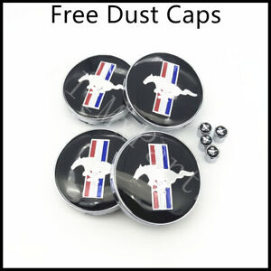 4x 60mm Ford Mustang Wheel Rim Hub Center Caps Cobra Gt Mach Running Horse