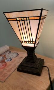 Antique Vintage Tiffany Style Table Lamp Stained Glass Shade Bronze Base