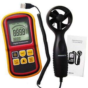 Digital Anemometer Wind Speed Meter Thermometer 0 45m s Bar Graph Surf c