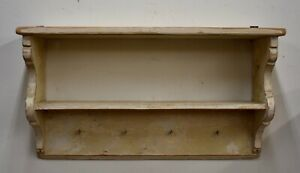Antique Painted Pine Wall Mount Utility Shelf