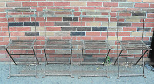 Set Of 4 Antique French All Metal Folding Bistro Chairs