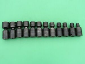 Snap On 212ipfm 12 Piece 8mm To 21mm Metric 3 8 Swivel Impact Socket Nice Used