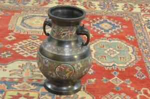 Antique Chinese Champleve Bronze Floor Vase 15 Tall Qing Nice Old Patina