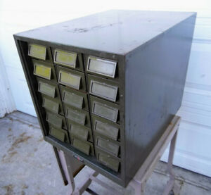 Vintage Addressograph 18 Drawer Steel Cabinet Industrial Tool Box Chest Storage
