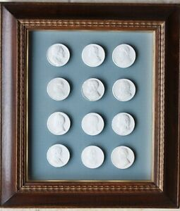 Framed Set Of 12 Mid 19th Century Grand Tour Plaster Intaglios In Period Frame