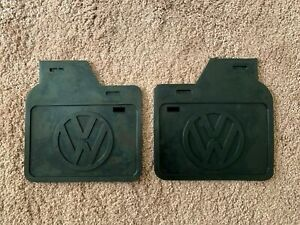 Vw Bug Old Volks Mud Flaps With White Logo Pair Fits All Beetle free Ship 003