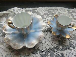 Two Antique Demitasse Miniature Cups Saucers Germany Flower Shape Blue Gilt