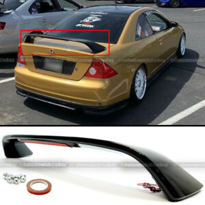 For 01 05 Honda Civic 2dr Glossy Black Trunk Spoiler Wing Led Brake Light Lamp