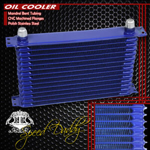 14 Row 10an Full Aluminum Engine Transmission Cooling Racing Oil Cooler Kit Blue