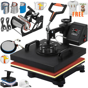 8 In 1 Heat Press Machine Transfer 15 x15 Printer Diy Hot Stamping Free T shirt