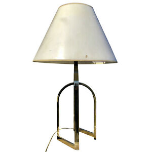 Mid Century Hollywood Regency Brass Geometric Table Lamp