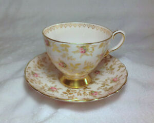 Cup Saucer Tuscan Chintz Pink Fields Hp Gold Lacy Stems Leaves Pink Rosebuds
