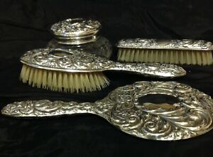 Birmingham Silver 1963 Broadway Co Four Piece Dressing Vanity Set